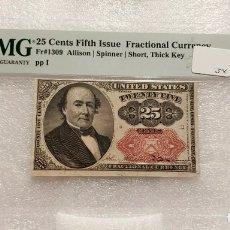 Billetes extranjeros: BILLETE 25 CTS DÓLAR - ESTADOS UNIDOS S. XIX - CERTIFICADO PMG - RARÍSIMO (EEUU DOLLAR). Lote 253749435