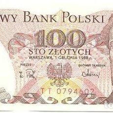 Billetes extranjeros: POLONIA - POLAND 100 ZLOTYCH 1-12-1988 PK 143E 2 SIN CIRCULAR. Lote 254026920