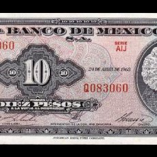 Billetes extranjeros: MÉXICO 10 PESOS 1963 PICK 58J SERIE AIJ SC UNC. Lote 254672290