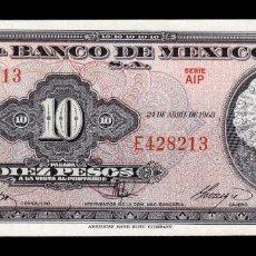 Billetes extranjeros: MÉXICO 10 PESOS 1963 PICK 58J SERIE AIP SC UNC. Lote 254675135