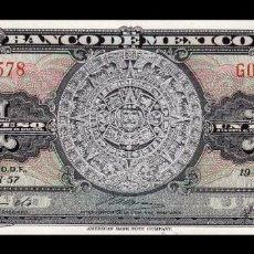 Billetes extranjeros: MÉXICO 1 PESO AZTEC CALENDAR 1957 PICK 59A SERIE GD SC UNC. Lote 254679450