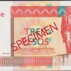 Billetes extranjeros: CUBA 3 PESOS CONVERTIBLES 1994 - SPECIMEN - PICK FX38 (SC). Lote 254680080