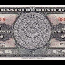 Billetes extranjeros: MÉXICO 1 PESO AZTEC CALENDAR 1967 PICK 59J SERIE BDC SC UNC. Lote 254680865