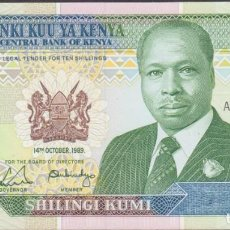 Billetes extranjeros: BILLETES - KENIA - 10 SHILLINGS 1989 - SERIE AD4242424 - PICK-24A (SC). Lote 254682350