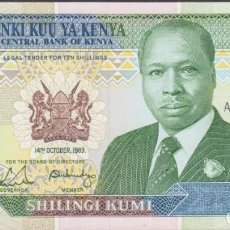 Billetes extranjeros: BILLETES - KENIA - 10 SHILLINGS 1989 - SERIE AD4242425 - PICK-24A (SC). Lote 254682525
