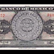 Billetes extranjeros: MÉXICO 1 PESO AZTEC CALENDAR 1967 PICK 59J SERIE BDM SC UNC. Lote 254684575