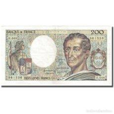 Billetes extranjeros: FRANCIA, 200 FRANCS, MONTESQUIEU, 1987, MBC+, FAYETTE:70.7, KM:155B. Lote 254778210