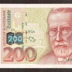 Billetes extranjeros: ALEMANIA FEDERAL. 200 DEUTSCHE MARK 2.1.1996. PICK 47. S/C. Lote 254793615