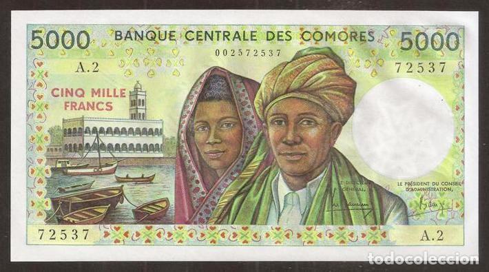COMORES (COMOROS). BONITO 5000 FRANCS (1984). SERIE A.2. PICK 12A. S/C. (Numismática - Notafilia - Billetes Internacionales)