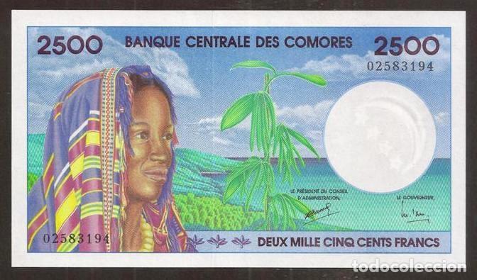 COMORES. PRECIOSO 2500 FRANCS (1997). PICK 13. S/C. (Numismática - Notafilia - Billetes Internacionales)