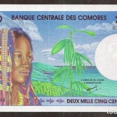 Billetes extranjeros: COMORES. PRECIOSO 2500 FRANCS (1997). PICK 13. S/C.. Lote 254793715