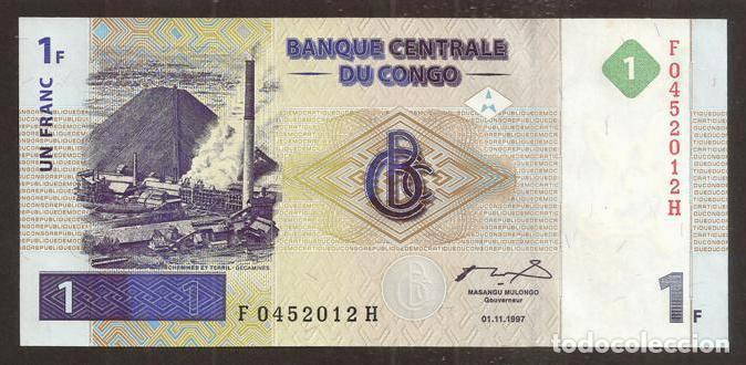 CONGO REP. DEM. 1 FRANC 1997. PICK 85. S/C (Numismática - Notafilia - Billetes Internacionales)