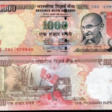 Billetes extranjeros: INDIA 1000 1,000 RUPEES 2012 P 107D LETTER L SIGN D. SUBBARAO UNC. Lote 254806030