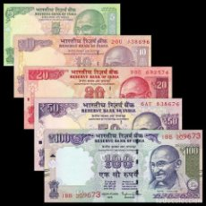 Billetes extranjeros: INDIA SET 5 PCS 5 10 20 50 100 RUPEES 2010 2018 P 94 102 103 104 105 UNC. Lote 254806150