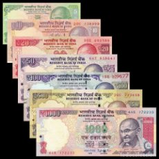 Billetes extranjeros: INDIA SET 7 PCS 5 10 20 50 100 500 1000 RUPEES 2010 2018 P 94 102 - 107 UNC. Lote 254806360