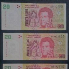 Billetes extranjeros: BILLETES ARGENTINA 20 PESOS CORRELATIVOS (3) UNC PICK 355.A.5 SERIE D. Lote 255535525