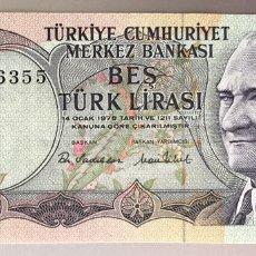 Billetes extranjeros: TURQUÍA. 5 LIRAS. Lote 255535890