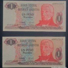 Billetes extranjeros: PAREJA BILLETES ARGENTINA 1 PESO ARGENTINO CORRELATIVOS XF PICK 311.A.2 SERIE A. Lote 255537590