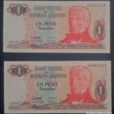 Billetes extranjeros: PAREJA BILLETES ARGENTINA 1 PESO ARGENTINO CORRELATIVOS XF PICK 311.A.2 SERIE A. Lote 255537630