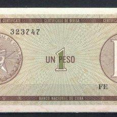 Billetes extranjeros: CUBA 1985 UN PESO - CERTIFICATE D 1 PESO KM# AUNC. Lote 255593720