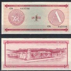 Billetes extranjeros: CUBA 1985 UN PESO - CERTIFICATE A 1 PESO KM# AUNC. Lote 255593725