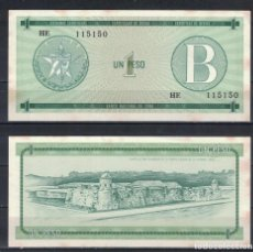 Billetes extranjeros: CUBA 1985 UN PESO - CERTIFICATE B 1 PESO KM# AUNC. Lote 255593755