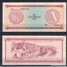 Billetes extranjeros: CUBA 1985 CINCO PESO - CERTIFICATE A 5 PESO KM# UNC. Lote 255593790
