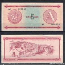 Billetes extranjeros: CUBA 1985 CINCO PESO - CERTIFICATE A 5 PESO KM# AUNC. Lote 255593805
