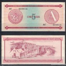 Billetes extranjeros: CUBA 1985 CINCO PESO - CERTIFICATE A 5 PESO KM# XF. Lote 255593820