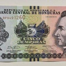 Billetes extranjeros: HONDURAS 5 LEMPIRA 2014 SC / UNC. Lote 255972680
