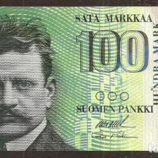 Billetes extranjeros: FINLANDIA. 100 MARKKAA 1986 (1991). LITT. A. PICK 119. VARIANTE DE FIRMAS.. Lote 257272475