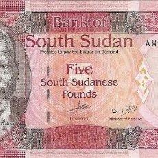 Billetes extranjeros: SOUTH SUDAN 5 LIBRAS 2015 SC / UNC. Lote 257880200