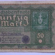 Billetes extranjeros: 1 BILLETE DE 50 MARK DEL REICHSBANKNOTE DEL AÑO 1919. Lote 258162115