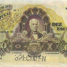 Billets internationaux: 10 ESCUDOS PORTUGAL - 1920 - CHAPA 2 - REPRODUCCIÓN - FOTOS. Lote 258939710