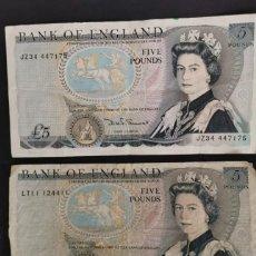 Billetes extranjeros: PAREJA 2 BILLETES 5 POUNDS. REINO UNIDO. AÑO 1980. MBC. Lote 259829400