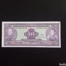 Billetes extranjeros: BILLETE PLANCHA 10 BOLIVARES VENEZUELA AÑO 1995. Lote 260294355