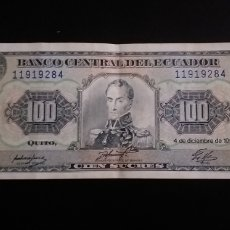 Billetes extranjeros: BILLETE DE 100 SUCRES ECUADOR 1992. Lote 260297060