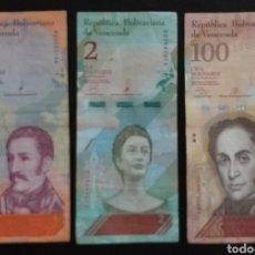 Billetes extranjeros: LOTE DE 3 BILLETES DISTINTOS VENEZUELA. Lote 260432070