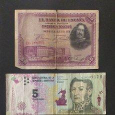 Billetes extranjeros: LOTE DE 3 BILLETES DISTINTOS PAÍSES DISTINTAS FECHAS DISTINTOS VALORES. Lote 260466920