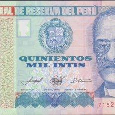 Billetes extranjeros: BILLETES - PERU - 500.000 INTIS 1989 - SERIE Z - REEMPLAZO-REPLCEMENT - PICK-147 (SC). Lote 260591800