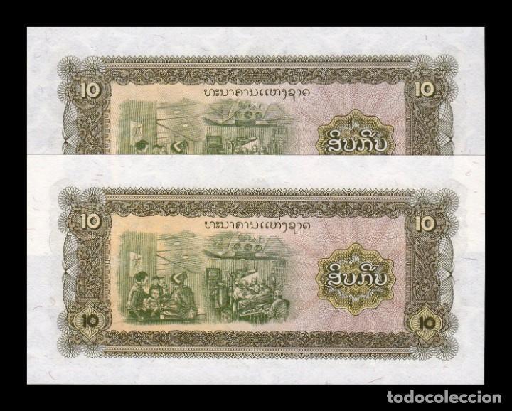Billetes extranjeros: Laos Lao Pareja 10 Kip 1979 Pick 27Br Reposición SC UNC - Foto 2 - 261097665