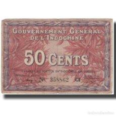 Billetes extranjeros: BILLETE, 50 CENTS, UNDATED (1939), INDOCHINA FRANCESA, KM:87D, BC. Lote 261575380