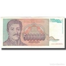 Billetes extranjeros: BILLETE, 5,000,000 DINARA, 1993, YUGOSLAVIA, KM:132, MBC+. Lote 261576620