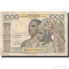 Billetes extranjeros: BILLETE, 1000 FRANCS, ESTADOS DEL ÁFRICA OCCIDENTAL, KM:103AL, BC+. Lote 261578205