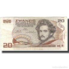 Billetes extranjeros: BILLETE, 20 SCHILLING, 1986, AUSTRIA, 1986-10-01, KM:148, MBC+. Lote 261579015