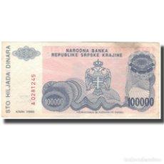 Billetes extranjeros: BILLETE, 100,000 DINARA, 1993, CROACIA, KM:R22A, BC+. Lote 261579040