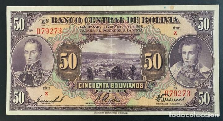 CMC BOLIVIA 50 BOLIVIANOS 1928 PICK 124-A EBC (Numismática - Notafilia - Billetes Internacionales)
