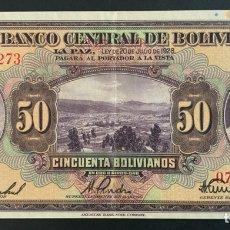 Banconote internazionali: CMC BOLIVIA 50 BOLIVIANOS 1928 PICK 124-A EBC. Lote 261579730