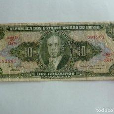 Billetes extranjeros: BRASIL. BILLETE DE 10 CRUZEIROS. Lote 261728895