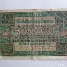 Billetes extranjeros: ALEMANIA. BILLETE DE 10 MARCOS. 1920. Lote 261778690
